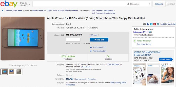 eBay tem iPhones caríssimos com o Flappy Bird (Foto: Reprodução/Thiago Barros)
