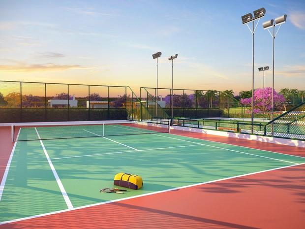 Foto 5 Residencial Solares perspectiva ilustrada da quadra de tenis (Foto: Divulgação)