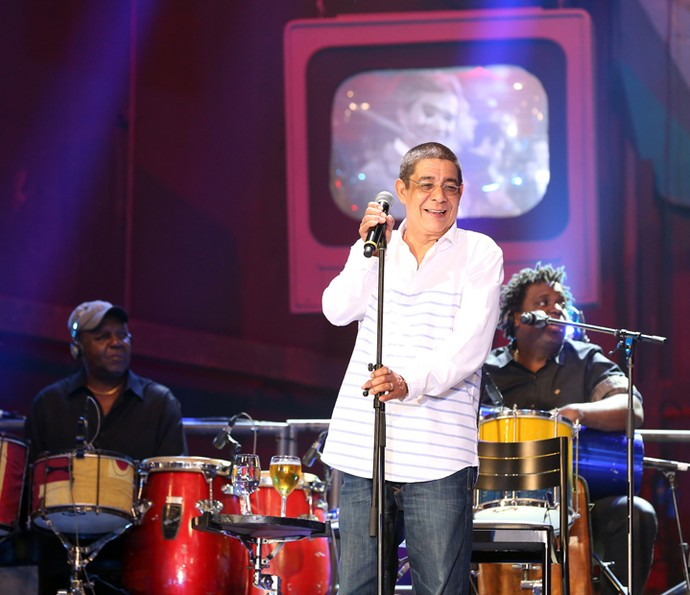 Zeca Pagodinho participa da gravação do 'Altas Horas' (Foto: Carol Caminha/Gshow)