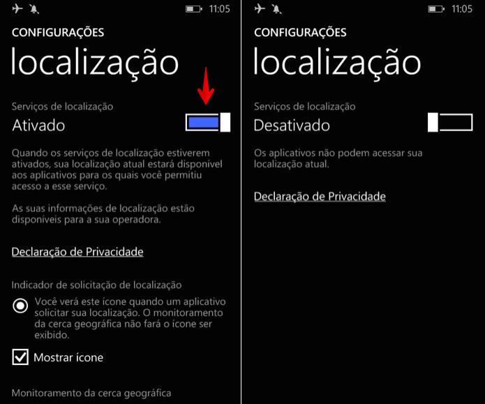 Desativando o GPS do Windows Phone (Foto: Reprodução/Helito Bijora)