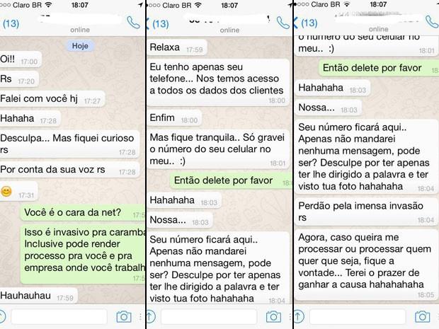 Imagens de conversa postada pela estudante Ana Prado no Facebook (Foto: Arquivo pessoal)