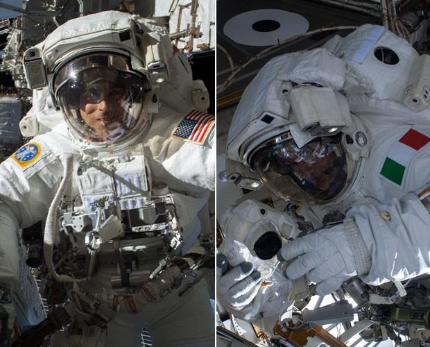 O astronauta norte-americano Chris Cassidy e o italiano Luca Parmitano em retrato feito durante caminhada na terça (16) (Foto: NASA)