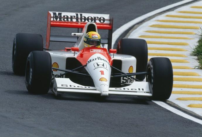 Ayrton Senna no GP do Brasil de 1991 (Foto: Getty Images)
