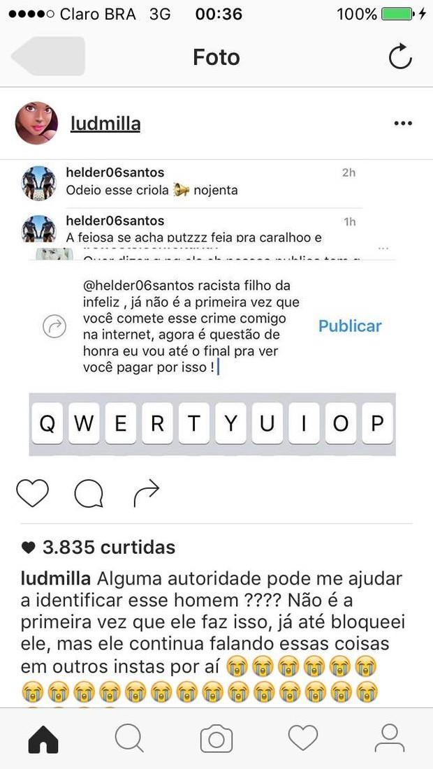 Ludmilla é alvo de comentários racistas (Foto: Reprodução/ Instagram)