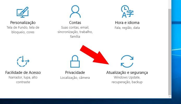 Acesse a opção de atualização e segurança (Foto: Reprodução/Paulo Alves)