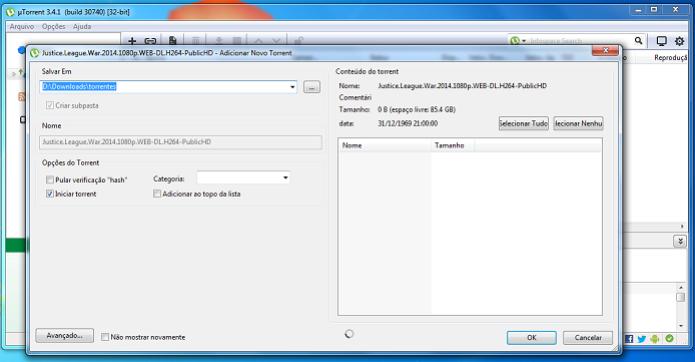 Escolhendo as opções de download do torrent (Foto: Reprodução/Edivaldo Brito) (Foto: Escolhendo as opções de download do torrent (Foto: Reprodução/Edivaldo Brito))