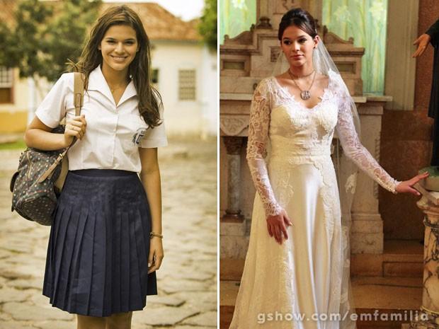 Bruna com visuais distintos de Helena: com uniforme colegial e com vestido de noiva (Foto: João Miguel Júnior / Pedro Curi / TV Globo)