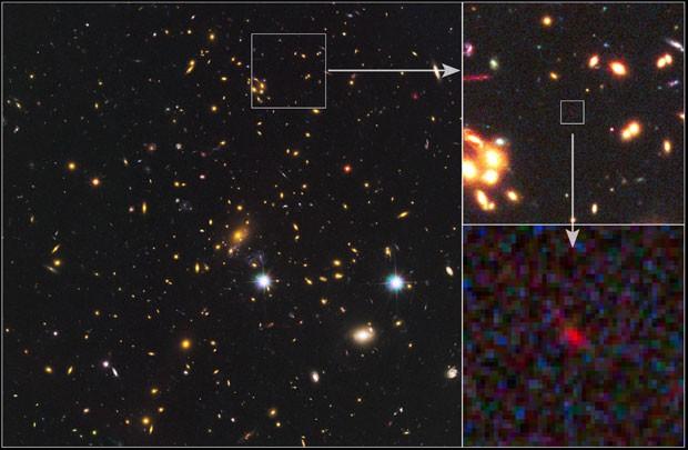 Imagem mostra galáxia MACS 1149-JD; à direita, a Nasa destaca detalhes da foto (Foto: NASA/ESA/STScI/JHU)