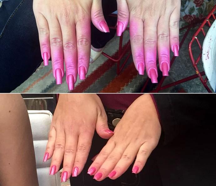 Antes e depois das unhas com esmalte em spray (Foto: Priscilla Massena / Gshow)