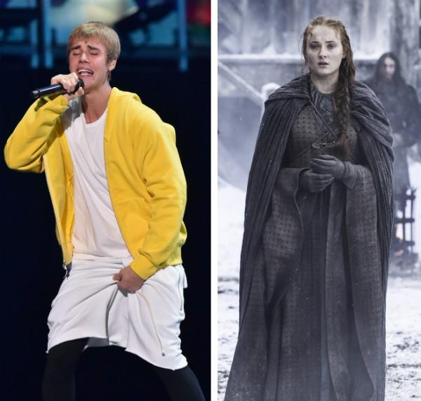 O músico Justin Bieber e a atriz Sophie Turner no papel de Sansa Stark em Game of Thrones (Foto: Getty Images/Reprodução)