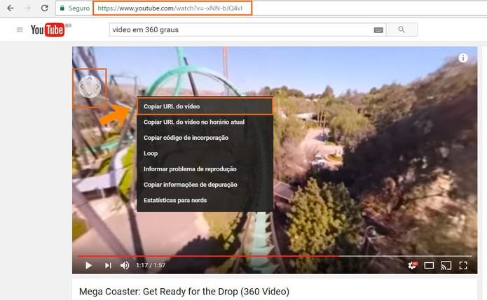 Copie a URL do vídeo em 360 graus do YouTube (Foto: Reprodução/Barbara Mannara)