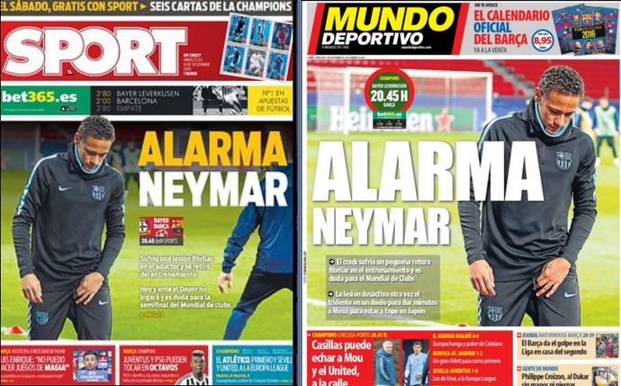 Neymar Jornais Mundo Deportivo e Sport (Foto: Reprodução / Mundo Deportivo)