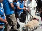 Papa recebe membros de escola canina de busca e salvamento marinho