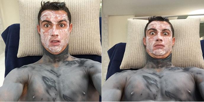 BLOG: Projeto Hulk? Cristiano Ronaldo se diverte e tira foto coberto de creme verde
