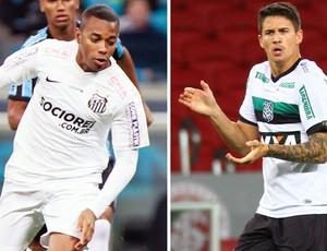 Robinho e Everaldo, Santos x Figueirense. (Foto: Montagem sobre foto da Futura Press)