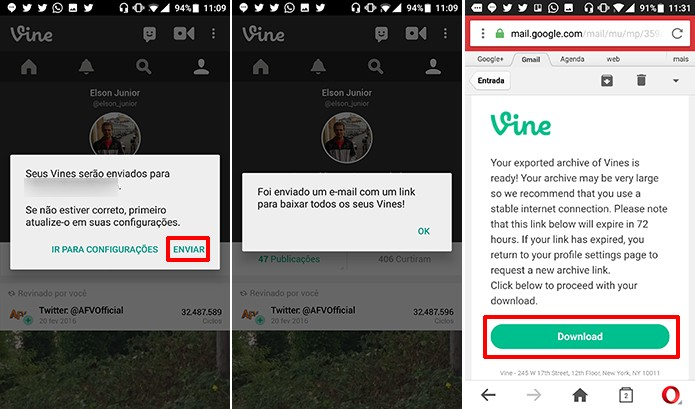 Vine envia link para email cadastrado na rede social para que usuário baixe vídeos (Foto: Reprodução/Elson de Souza)