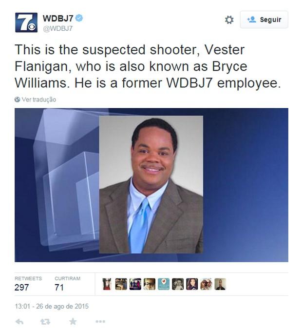 No Twitter, emissora WDBJ confirmou que Vester Flanigan, também conhecido profissionalmente como Bryce Williams, é o suspeito de matar a tiros Alison Parker e Adam Ward  (Foto: Reprodução/Twitter/WDBJ7)