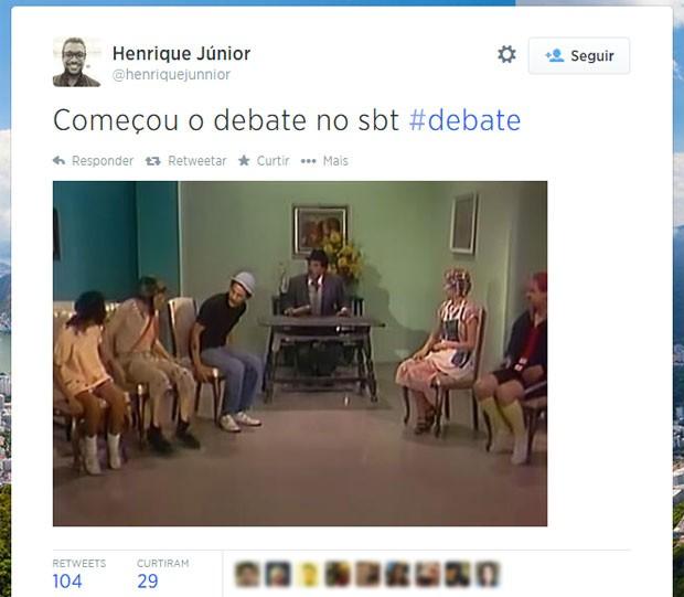 Turma do seriado Chaves, transmitido pelo SBT, foi lembrada no início do debate com os presidenciáveis (Foto: Reprodução/Twitter/henriquejunior)