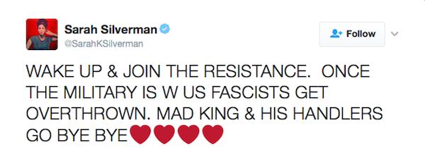 A atriz Sarah Silverman pede um golpe militar contra Donald Trump (Foto: Twitter)