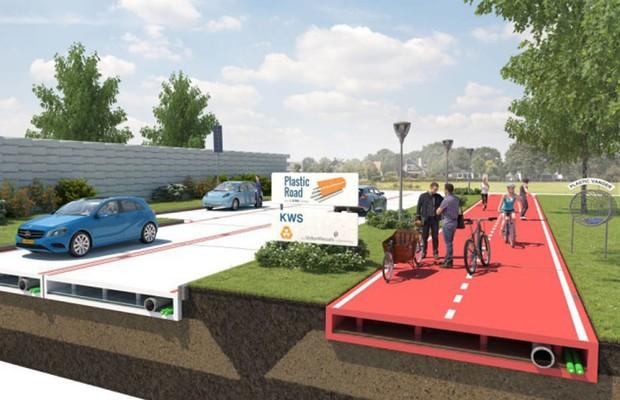 Projeto de estrada com material reciclado (Foto: Divulgação)