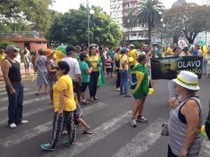 Manifestação em Uruguaiana, na Fronteira Oeste do RS (Foto: Gabriela Fogliarini/RBS TV)