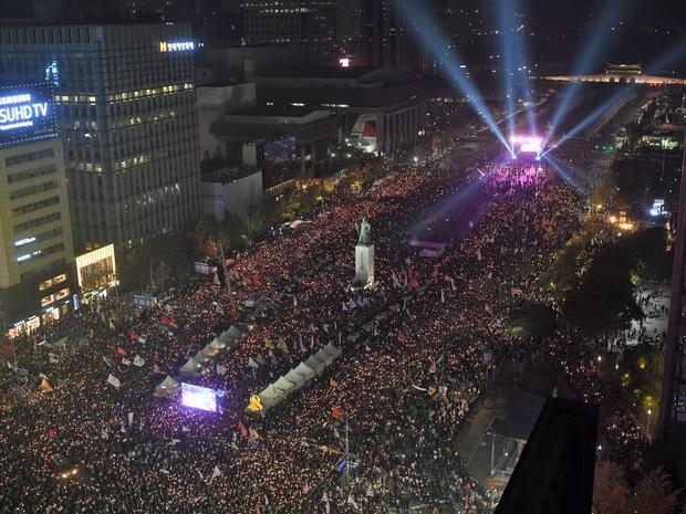 Manifestação em Seul (Foto: Ed Jones/AFP)