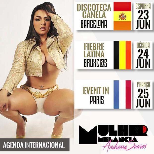 Agenda de shows da Mulher Melancia (Foto: Reprodução / Instagram)