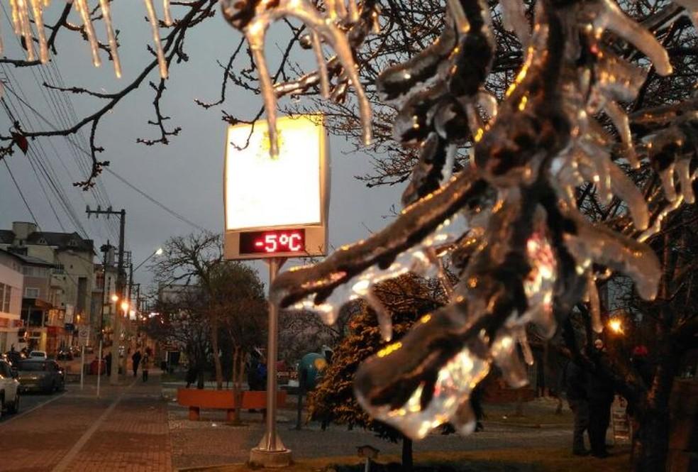 Termômetro marcou -5ºC em São Joaquim (Foto: Wagner Urbano/Divulgação)