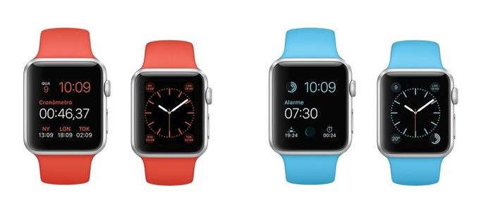 0a2437e030f Modelos do Apple Watch Sport com pulseira laranja e azul (Foto  Divulgação  Apple