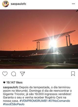 São Paulo x Ponte Preta Ingressos (Foto: Reprodução/Instagram)