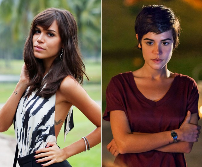 Carla Salle com o visual de Helô (à esq.) e agora pronta para viver Leila (à dir.) (Foto: Carol Caminha e Arthur Meninea/Gshow)