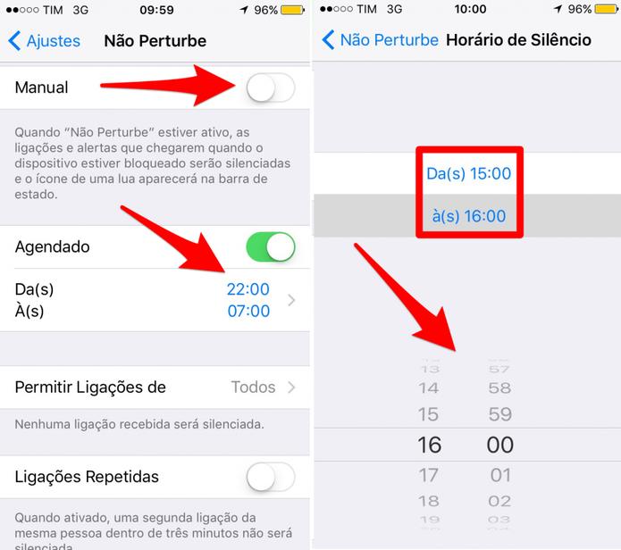 Configure o Não Perturbe do iPhone (Foto: Reprodução/Lucas Mendes)