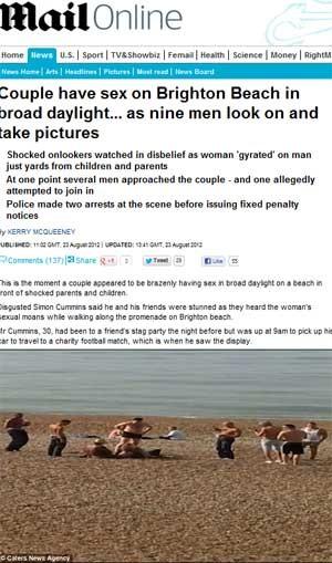 Casal é preso por sexo na praia durante o dia na Inglaterra (Foto: Reprodução)