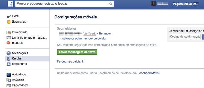 Confira se sua conta de Facebook tem um número de telefone conectado (Foto: Reprodução/Facebook)