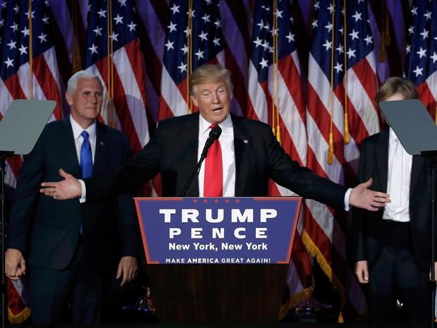 O presidente eleito Donald Trump após vitória (Foto: Mike Segar/Reuters)