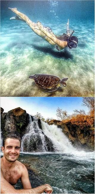 Amanda Richter e Max Fercondini visitaram lugares paradisíacos no Brasil (Foto: Reprodução do Instagram)