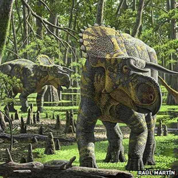 Espécie descoberta nos Estados Unidos foi batizada de Nasutoceratops titusi. (Foto: Raúl Martín)