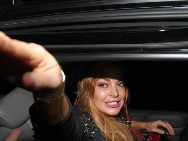 Lindsay Lohan deixa loja em São Paulo (Foto: Thiago Duran e Caio Duran/ Ag. News)
