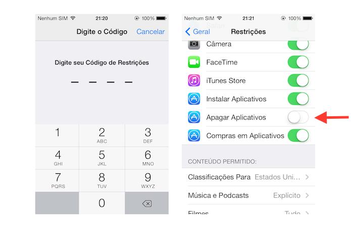 Desativando a desinstalação de aplicativos no iOS (Foto: Reprodução/Marvin Costa)