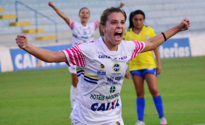 ebb8d99ffb2e9 Djenifer Becker gol 2 São José Tiradentes futebol feminino (Foto  Danilo  Sardinha GloboEsporte
