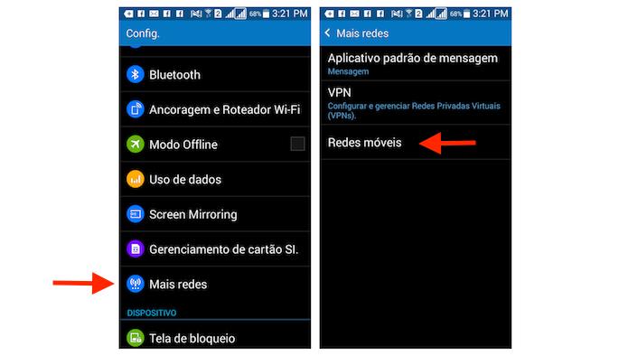 Acessando as opções para redes móveis do Galaxy Gran Prime Duos (Foto: Reprodução/Marvin Costa)