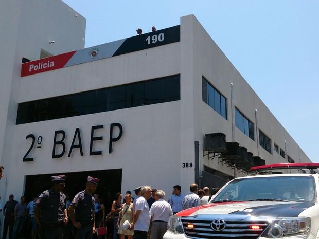 Governador esteve na nova sede do BAEP na Baixada Santista (Foto: Orion Pires / G1)