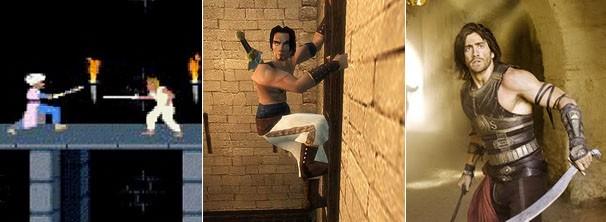 """Veja a evolução do personagem: nos jogos """"Príncipe da Pérsia"""" (1989) e """"Príncipe da Pérsia - As Areias do Tempo"""" (2003), e no filme lançado em 2010 (Foto: divulgação)"""