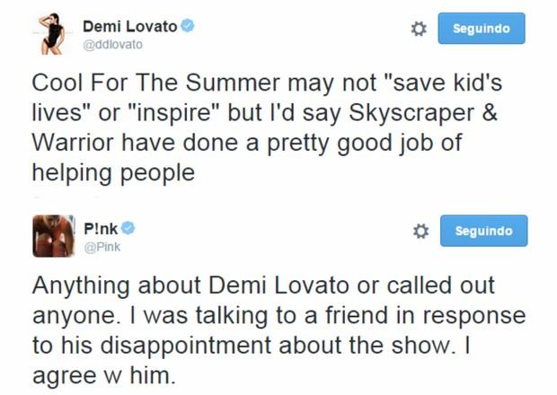 Demi Lovato e Pink em posts no Twitter (Foto: Reprodução)