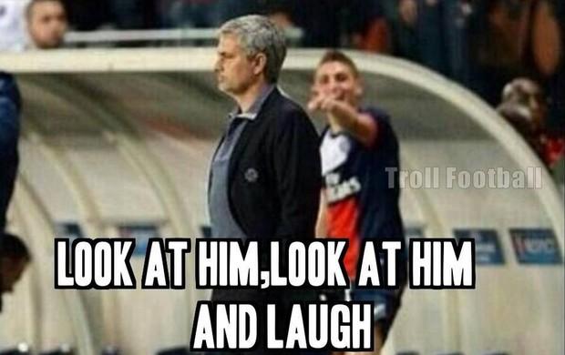 Mourinho e o jogador do PSG montagem