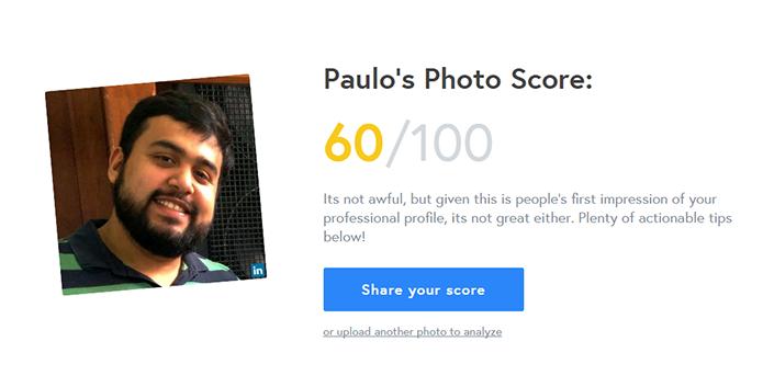 Snapper dá nota para suas fotos do LinkedIn (Foto: Reprodução/Paulo Alves)