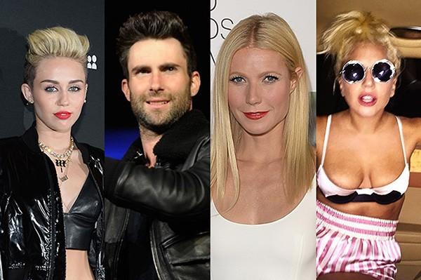 Miley Cyrus, Adam Levine, Gwyneth Paltrow, Lady Gaga (Foto: Getty Images e Reprodução)