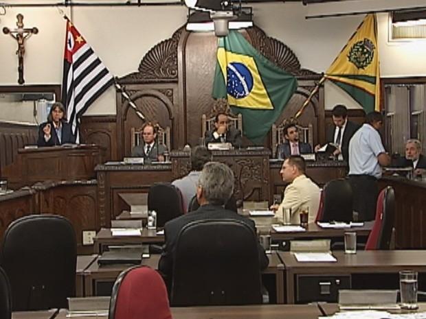 Sessão da Câmara apresentou projeto nesta segunda-feira (Foto: Reprodução TV TEM)