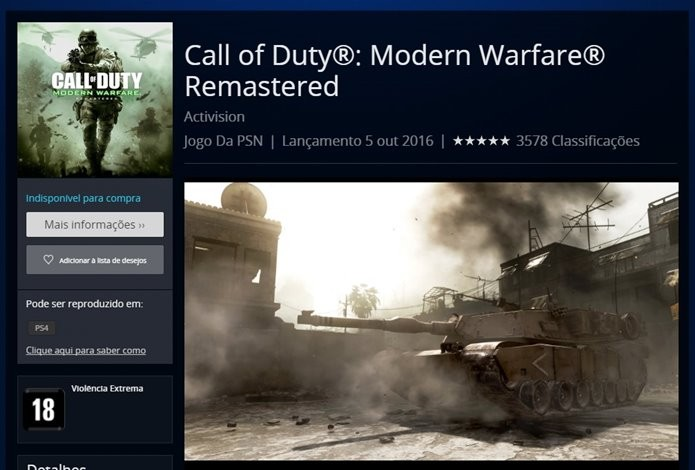 Call of Duty: Modern Warfare não pode ser baixado diretamente pela PSN (Foto: Reprodução/Felipe Demartini)