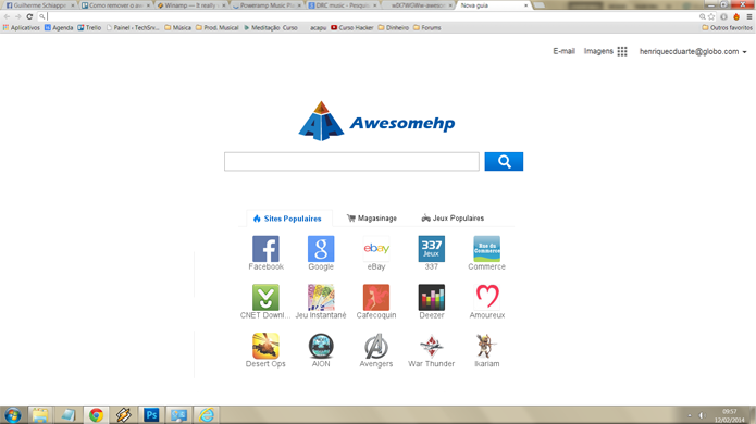 Em um computador infectado pelo awesomehp, a página principal do navegador se transforma no sistema de busca da malícia